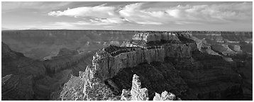 Canyon landscape from Cape Royal. Grand Canyon National Park (Panoramic black and white)