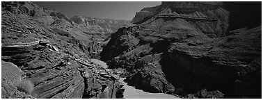 Colorado River flowing through gorge at narrowest point. Grand Canyon National Park (Panoramic black and white)