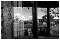 South Rim, El Tovar Hotel restaurant window reflexion. Grand Canyon National Park, Arizona, USA. (black and white)