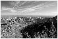 View from Vista Encantada, morning. Grand Canyon National Park ( black and white)