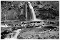Travertine formations and Havasu falls. Grand Canyon National Park, Arizona, USA. (black and white)
