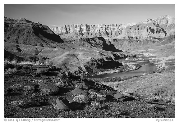 Colorado River bend below Palissades of the Desert. Grand Canyon National Park (black and white)