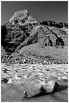 Rapids in  Colorado river, morning. Grand Canyon National Park ( black and white)