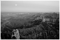 Moonrise, Point Imperial. Grand Canyon National Park ( black and white)