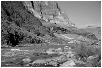Colorado River with raft. Grand Canyon National Park, Arizona, USA. (black and white)