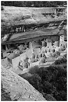Cliff Palace, late afternoon. Mesa Verde National Park, Colorado, USA. (black and white)