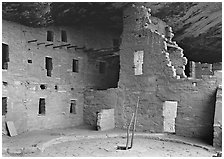 Kiva in Spruce Tree house. Mesa Verde National Park, Colorado, USA. (black and white)