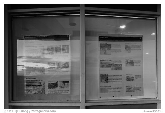 Sunset and attractions listings, Far View visitor center window reflexion. Mesa Verde National Park (black and white)