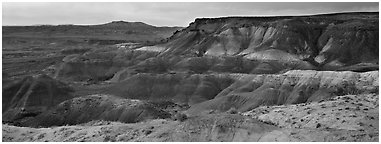 Painted Desert badlands at sunset. Petrified Forest National Park (Panoramic black and white)