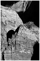 Rock walls near Hidden Canyon. Zion National Park, Utah, USA. (black and white)