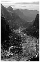 Zion Canyon from  summit of Angel's landing, mid-day. Zion National Park, Utah, USA. (black and white)