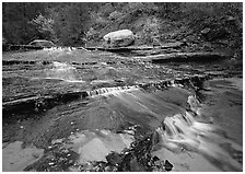 Terraced cascades, Left Fork of the North Creek. Zion National Park, Utah, USA. (black and white)