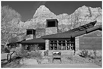 Zion Visitor Center. Zion National Park ( black and white)