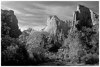 Court of the Patriarchs in autumn. Zion National Park, Utah, USA. (black and white)
