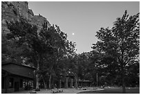 Zion Lodge at dusk. Zion National Park ( black and white)