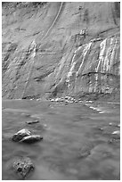 Mystery Falls, the Narrows. Zion National Park, Utah, USA. (black and white)
