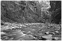 Virgin River in  Narrows. Zion National Park, Utah, USA. (black and white)