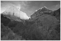 Kolob Canyons at sunset. Zion National Park ( black and white)