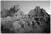Erosion formations, Cedar Pass, dawn. Badlands National Park ( black and white)