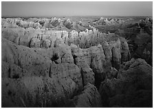 Sheep Mountain table at dusk. Badlands National Park ( black and white)