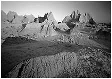 Mudstone formations, Cedar Pass, sunrise. Badlands National Park ( black and white)