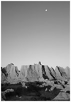Moon and erosion formations, Cedar Pass, dawn. Badlands National Park ( black and white)