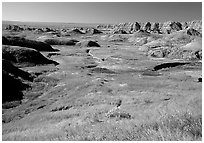 Badlands and Prairie at Yellow Mounds overlook. Badlands National Park, South Dakota, USA. (black and white)