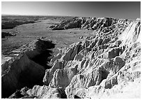 Prairie between badlands at Burns Basin overlook. Badlands National Park ( black and white)