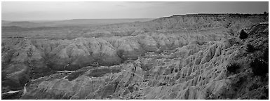 Badlands scenery at dawn, Stronghold Table. Badlands National Park (Panoramic black and white)
