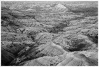 Eroded buttes at sunrise, Panorama Point. Badlands National Park ( black and white)