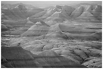 Delicately colored badlands and prairie at sunrise. Badlands National Park ( black and white)