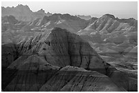 Backlit badlands from Panorama Point. Badlands National Park ( black and white)