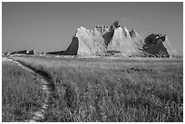 Castle Trail. Badlands National Park, South Dakota, USA. (black and white)