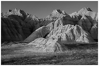 Prairie and badlands at sunset. Badlands National Park ( black and white)