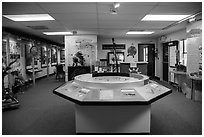 Inside White River Visitor Center. Badlands National Park, South Dakota, USA. (black and white)