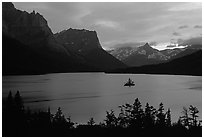 St Mary Lake and Wild Goose Island, sunset. Glacier National Park, Montana, USA. (black and white)