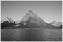 Swiftcurrent Lake, and Grinnell Point, Many Glacier. Glacier National Park, Montana, USA. (black and white)