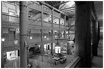 Main hall of Many Glacier Lodge. Glacier National Park, Montana, USA. (black and white)