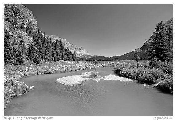 Stream at the head of Josephine Lake. Glacier National Park, Montana, USA.