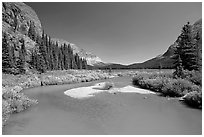 Stream at the head of Josephine Lake. Glacier National Park, Montana, USA. (black and white)