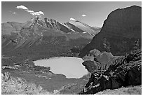 Grinnell Lake, Angel Wing, and Allen Mountain, afternoon. Glacier National Park, Montana, USA. (black and white)