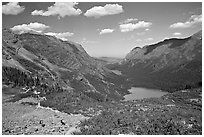 Many Glacier Valley with Grinnell Lake and Josephine Lake. Glacier National Park, Montana, USA. (black and white)