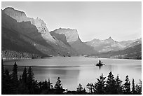 St Mary Lake, Wild Goose Island, sunrise. Glacier National Park, Montana, USA. (black and white)