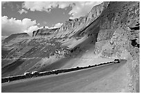 Going to the Sun road below the Garden Wall, afternoon. Glacier National Park, Montana, USA. (black and white)