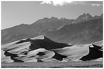 Distant view of Dunes and Crestone Peaks in late afternoon. Great Sand Dunes National Park, Colorado, USA. (black and white)