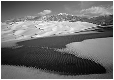 Patch of sand, snow-covered dunes, Sangre de Christo mountains. Great Sand Dunes National Park and Preserve ( black and white)