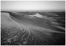 Sparse snow on the dunes at dawn. Great Sand Dunes National Park and Preserve ( black and white)
