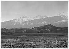 Flats, sand dunes, and snowy Sangre de Christo mountains. Great Sand Dunes National Park and Preserve ( black and white)