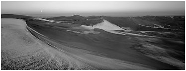 Dune field in winter at dawn. Great Sand Dunes National Park and Preserve (Panoramic black and white)