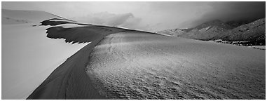 Sand dune scenery in winter. Great Sand Dunes National Park and Preserve (Panoramic black and white)